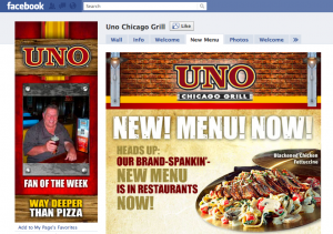 Uno Chicago Grill Facbeook fan page marketing