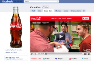 coca cola facebook fan page marketing