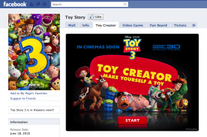 toy story facebook fan page marketing