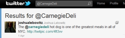 Twitter Tip Tuesday - @CarnegieDeli