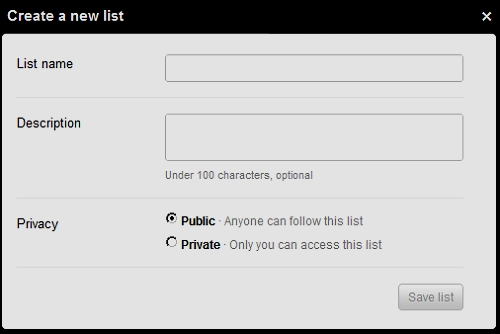 Create a new list pop up