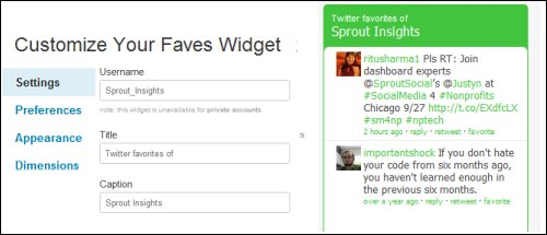 Twitter Faves Widget