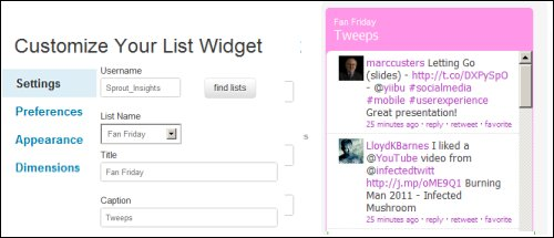 Twitter List Widget