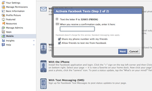 How To Update Your Facebook Page With Text Messages
