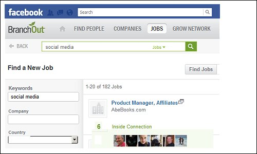 Use a Facebook Job Search App like BranchOut