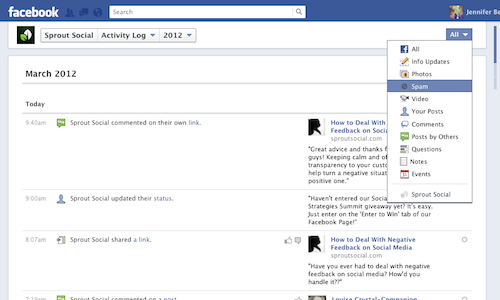 how to find the activity log on a facebook