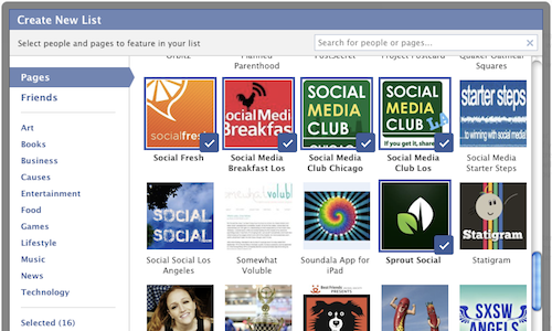 how to create lists facebook