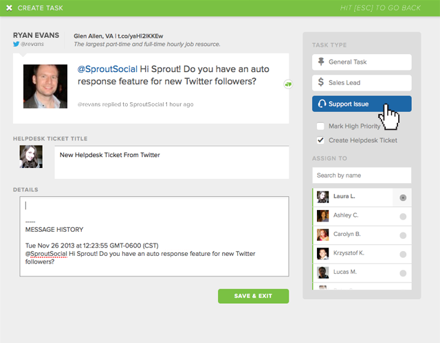 create a zendesk support ticket in sprout
