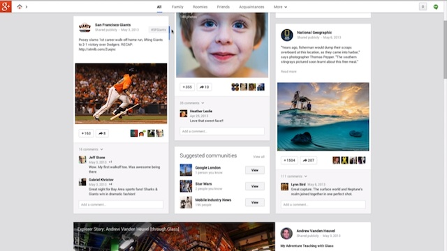 Google Plus layout