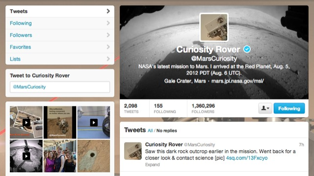 NASA Mars Curiosity Rover on Twitter