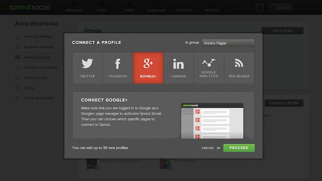 Sprout Social Google Plus profile
