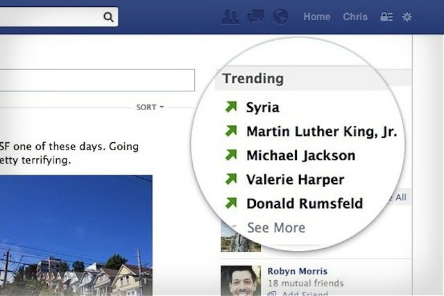 Facebook Trending Desktop