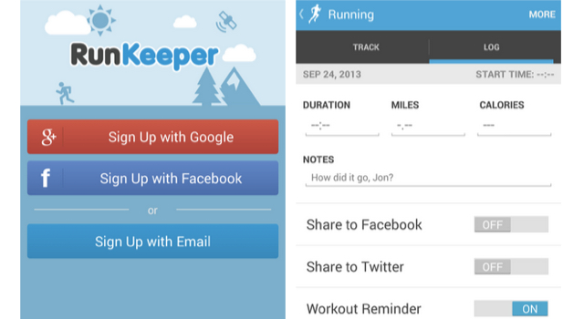 RunKeeper sharing
