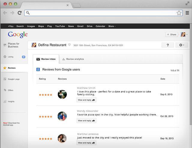 google places review inbox