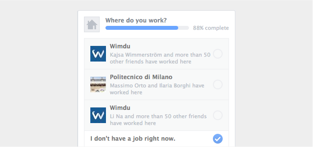 Facebook Unemployment