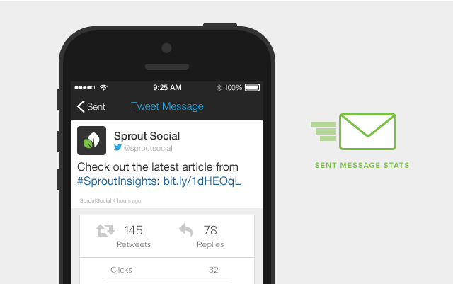 Sprout Social iOS Redesign Sent Message Stats