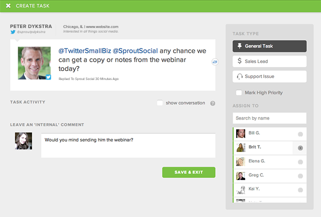 sprout social talk screen shot