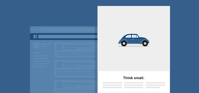 think small volkswagen campaign Facebook Ad