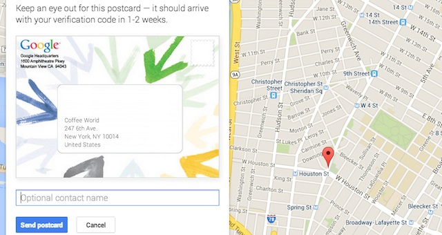 verify local page by postcard screenshot