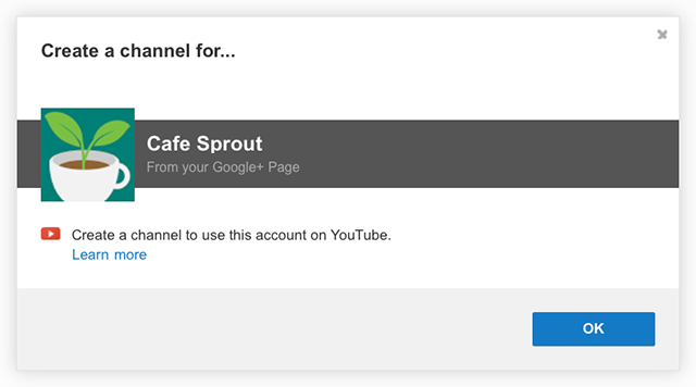 create a youtube account with google+ screenshot
