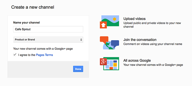 create google+ page with youtube account screenshot