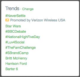 trending hashtag screenshot
