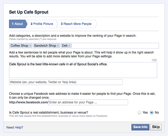 how to create a facebook page screenshot