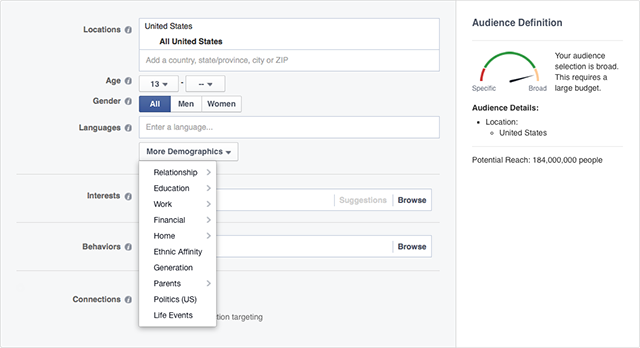 facebook advertising audiences screenshot