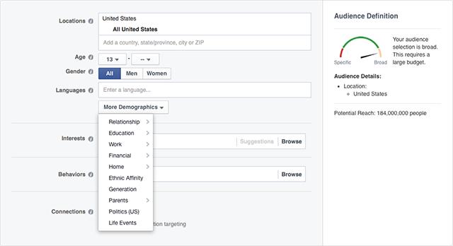 facebook advertising audiences screenshot