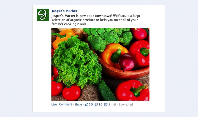 facebook advertising example screenshot