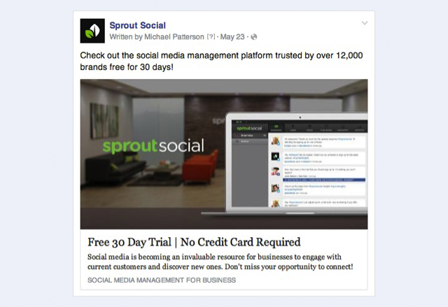 facebook website clicks ad example