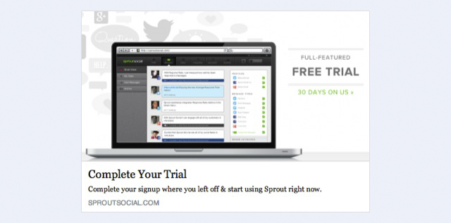 facebook website conversion ad screenshot