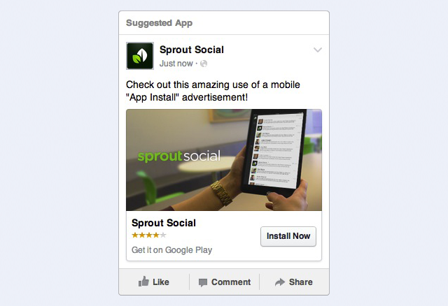 facebook app install ad screenshot