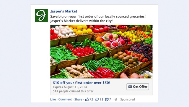 facebook offer claim ad example