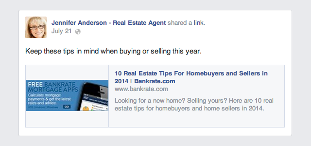 good real estate agent facebook example