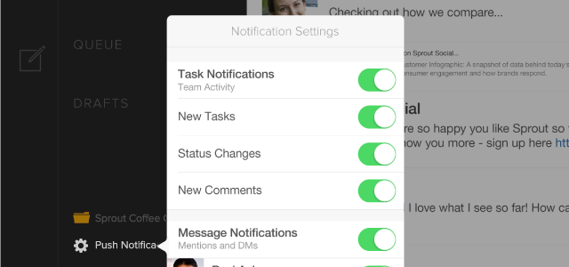 Push Notifications settings