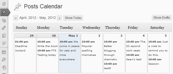 wordpress editorial calendar plugin screenshot