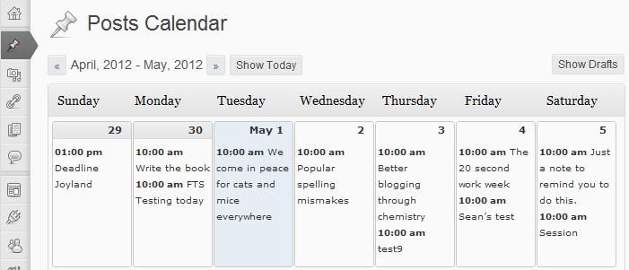 wordpress editorial calendar plugin screenshot