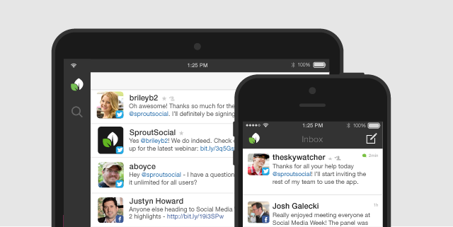 Sprout Social inbox on ipad and iphone