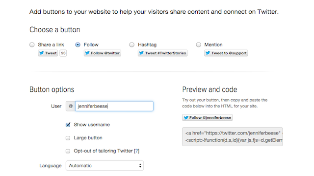 twitter buttons example