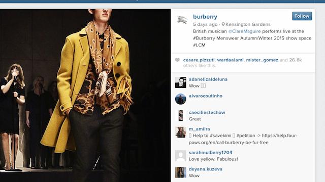 Burberry Instagram Location