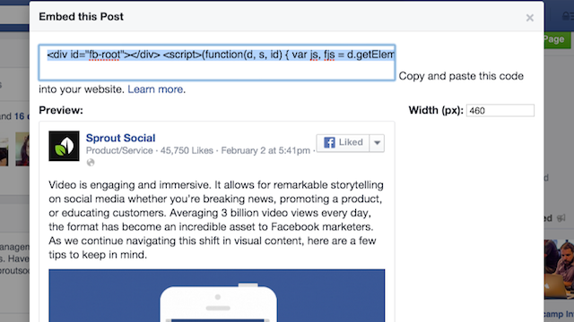Facebook Embed Post Code
