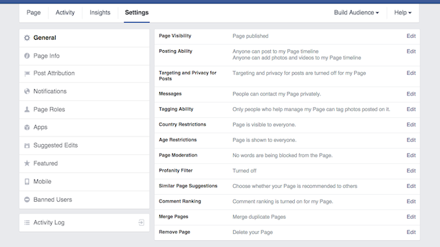 Facebook Page terms