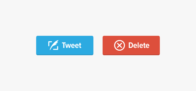 blue tweet and red delete buttons
