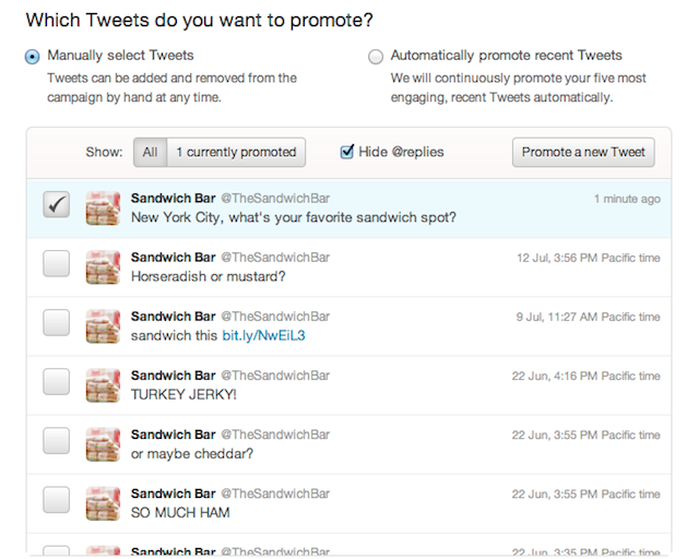how to manually promote tweets