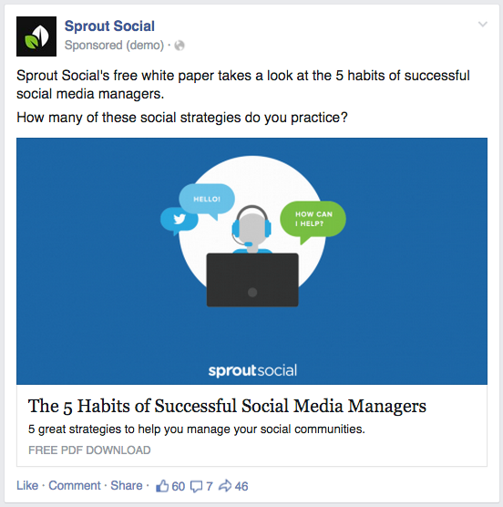 facebook ad screenshot sprout
