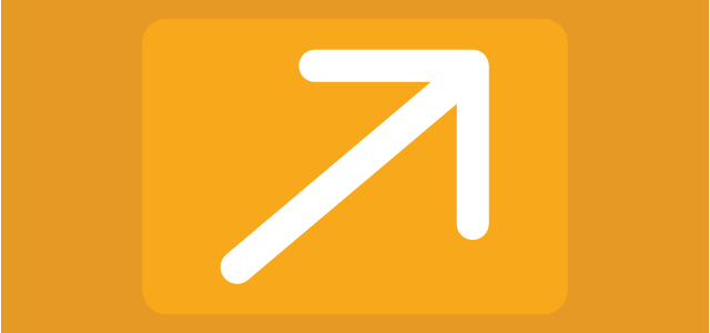 white arrow with orange background
