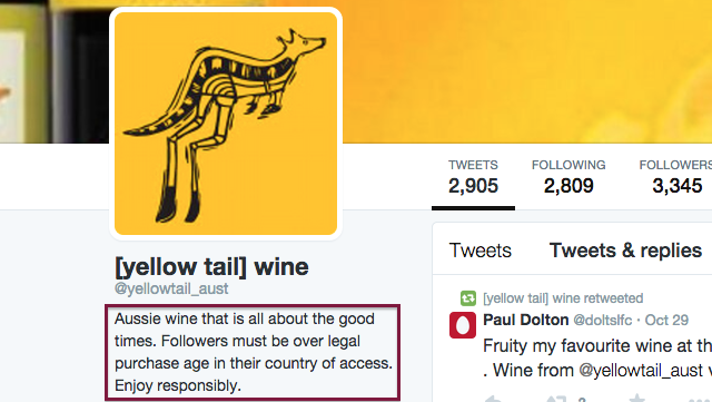 Yellow Tail Twitter bio