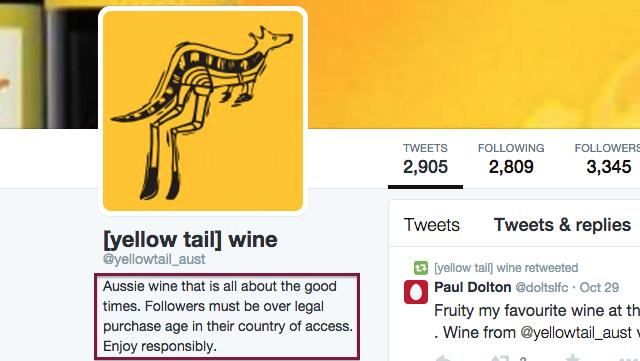 Yellow Tail Twitter bio