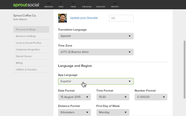 How to Change Your Language Settings in Sprout